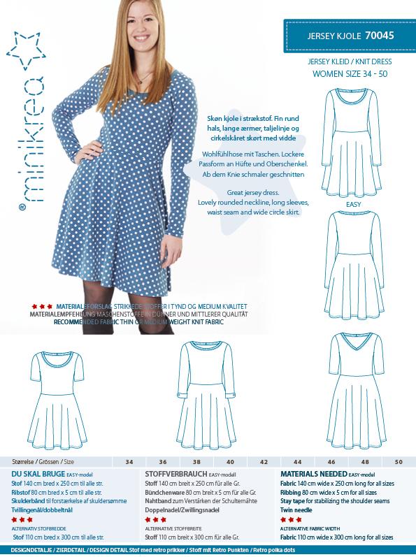 01cec956 Minikrea symønster nr. 70045 Jersey Kjole 34 – 50 (EU standard sizes ...