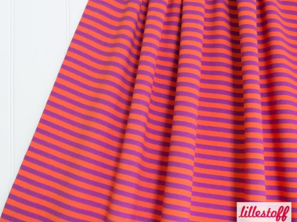 9bf350955b26 Orange Og Lilla Stribet Lillestoff – økologisk gots Jersey – Albastuff –  Specialstoffer Og Tilbehør